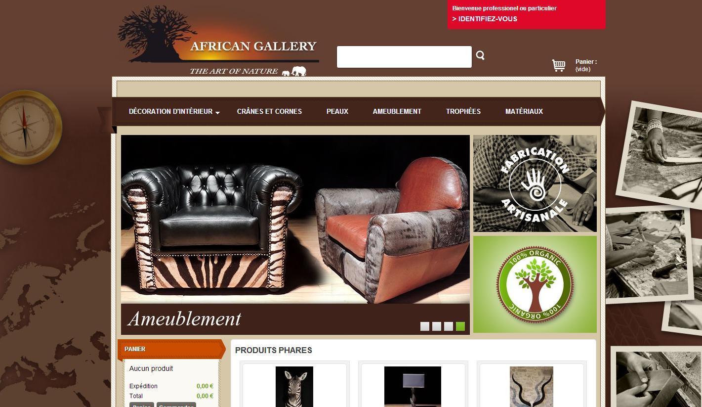 Site Internet African Gallery, ameublement et art africain