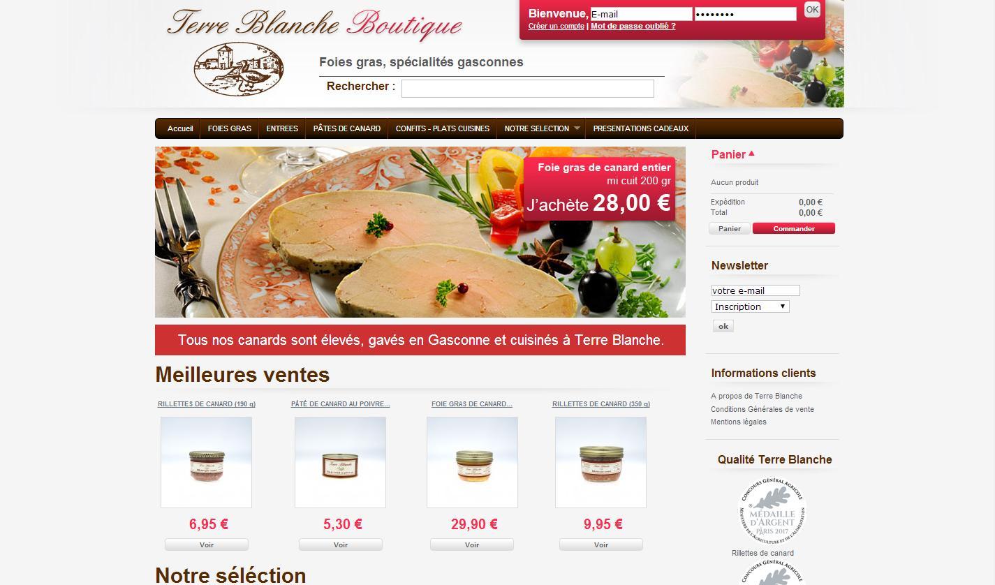Boutique en ligne Terre Blanche foie gras, spécialités gasconnes