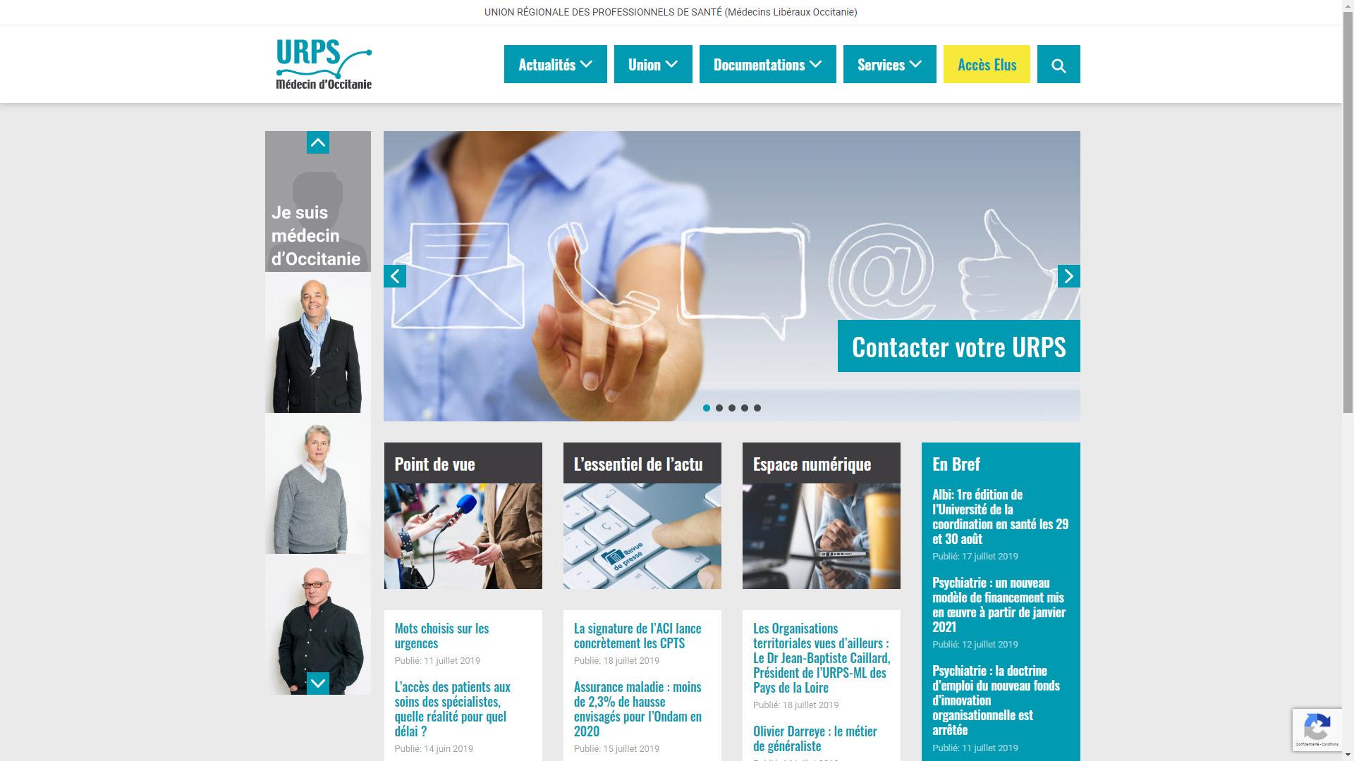 Site Internet URPS médecin d'Occitanie